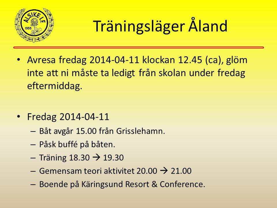 Träningsläger Åland Avresa fredag 2014-04-11 klockan 12.45 (ca), glöm inte att ni måste ta ledigt från skolan under fredag eftermiddag. Fredag 2014-04