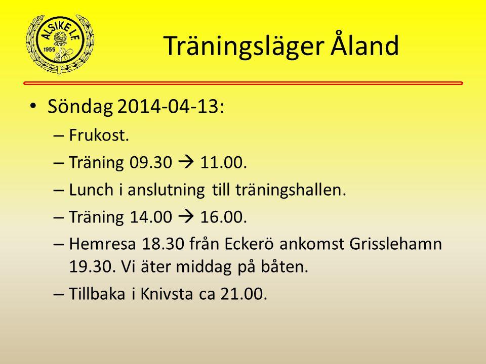 Träningsläger Åland Söndag 2014-04-13: – Frukost. – Träning 09.30  11.00. – Lunch i anslutning till träningshallen. – Träning 14.00  16.00. – Hemres