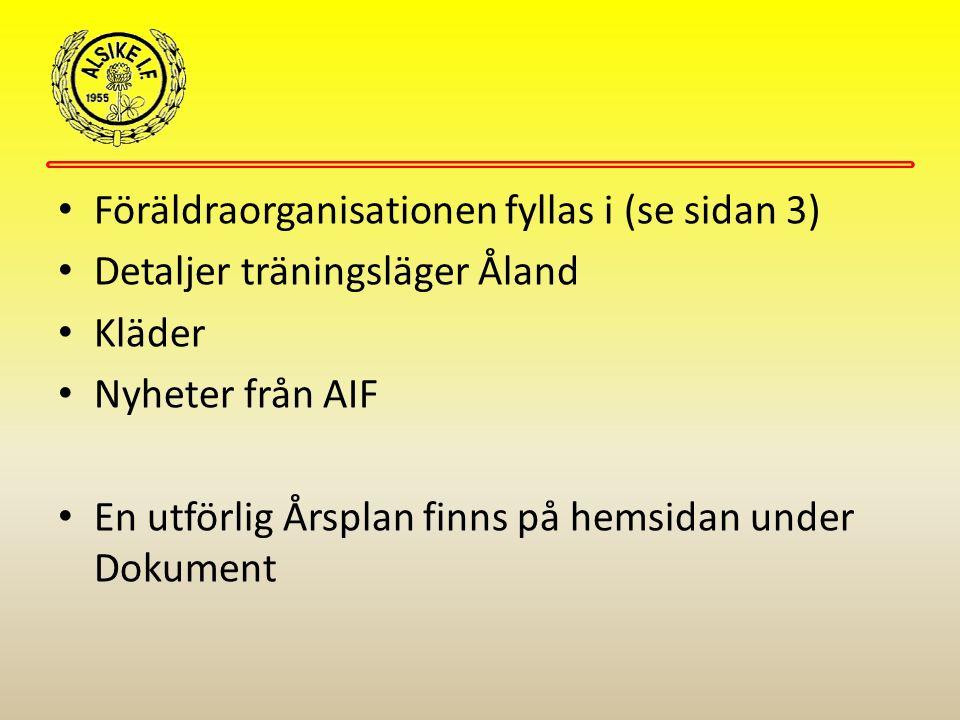 Föräldraorganisationen fyllas i (se sidan 3) Detaljer träningsläger Åland Kläder Nyheter från AIF En utförlig Årsplan finns på hemsidan under Dokument