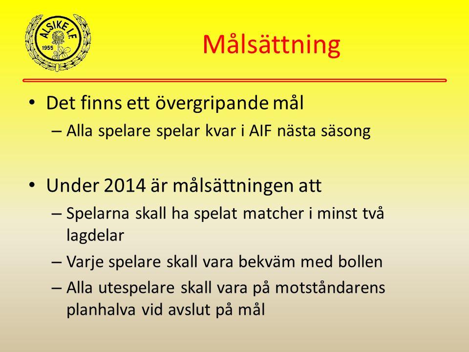 Målsättning Det finns ett övergripande mål – Alla spelare spelar kvar i AIF nästa säsong Under 2014 är målsättningen att – Spelarna skall ha spelat ma