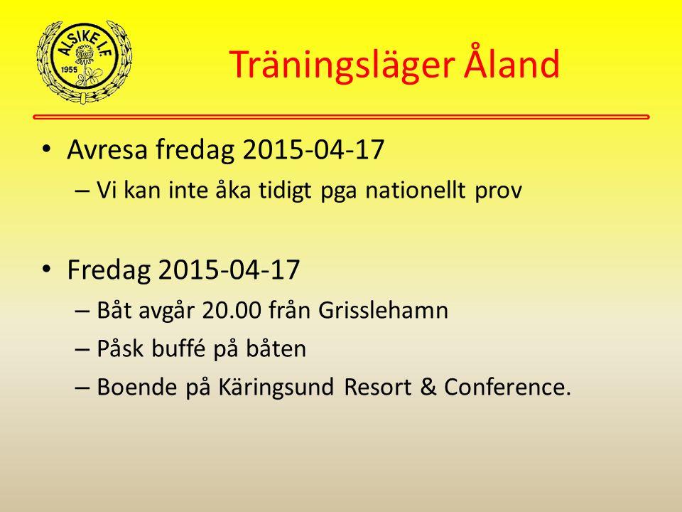 Träningsläger Åland Avresa fredag 2015-04-17 – Vi kan inte åka tidigt pga nationellt prov Fredag 2015-04-17 – Båt avgår 20.00 från Grisslehamn – Påsk buffé på båten – Boende på Käringsund Resort & Conference.