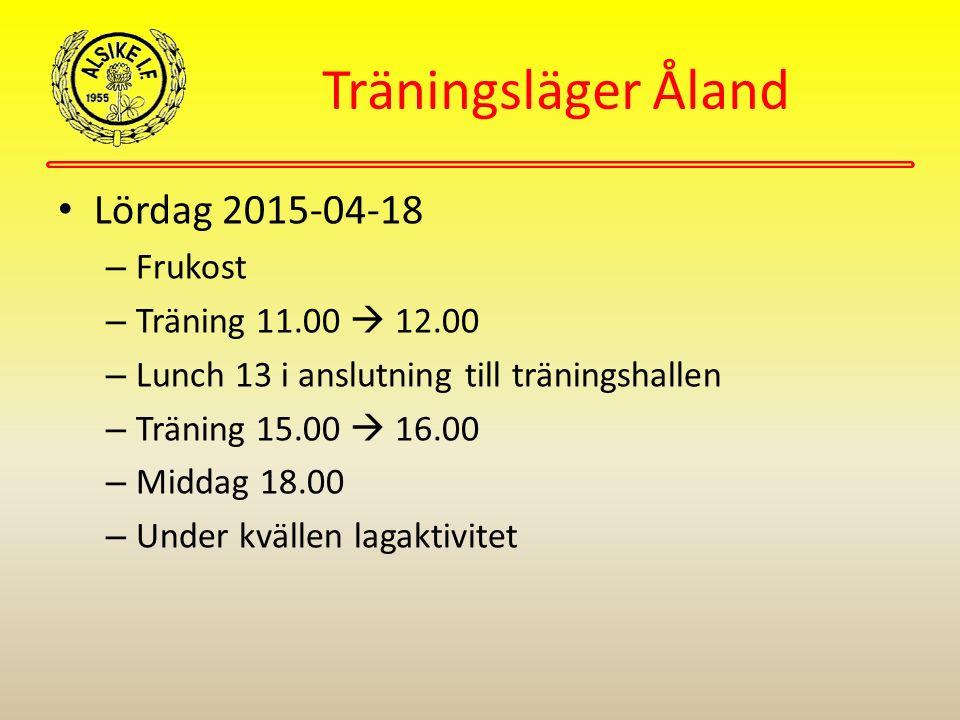 Träningsläger Åland Lördag 2015-04-18 – Frukost – Träning 11.00  12.00 – Lunch 13 i anslutning till träningshallen – Träning 15.00  16.00 – Middag 18.00 – Under kvällen lagaktivitet