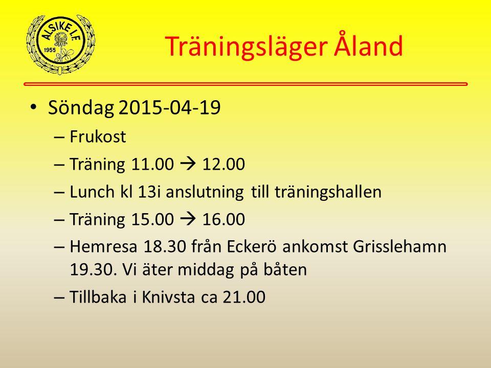 Träningsläger Åland Söndag 2015-04-19 – Frukost – Träning 11.00  12.00 – Lunch kl 13i anslutning till träningshallen – Träning 15.00  16.00 – Hemresa 18.30 från Eckerö ankomst Grisslehamn 19.30.