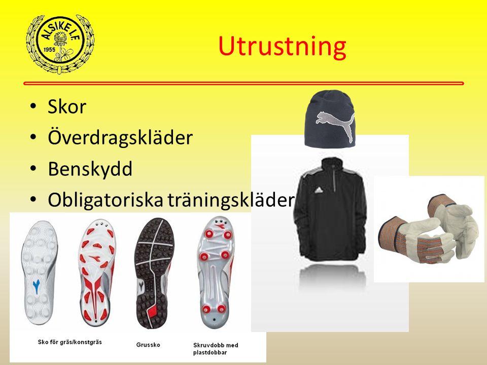 Utrustning Skor Överdragskläder Benskydd Obligatoriska träningskläder