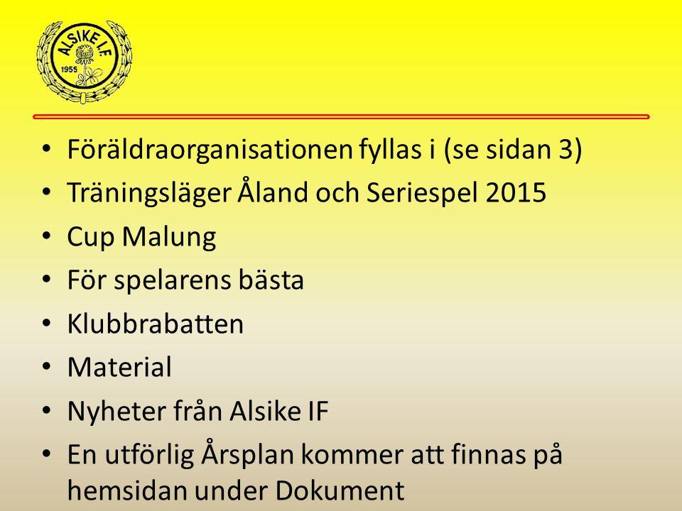 Föräldraorganisationen fyllas i (se sidan 3) Träningsläger Åland och Seriespel 2015 Cup Malung För spelarens bästa Klubbrabatten Material Nyheter från Alsike IF En utförlig Årsplan kommer att finnas på hemsidan under Dokument