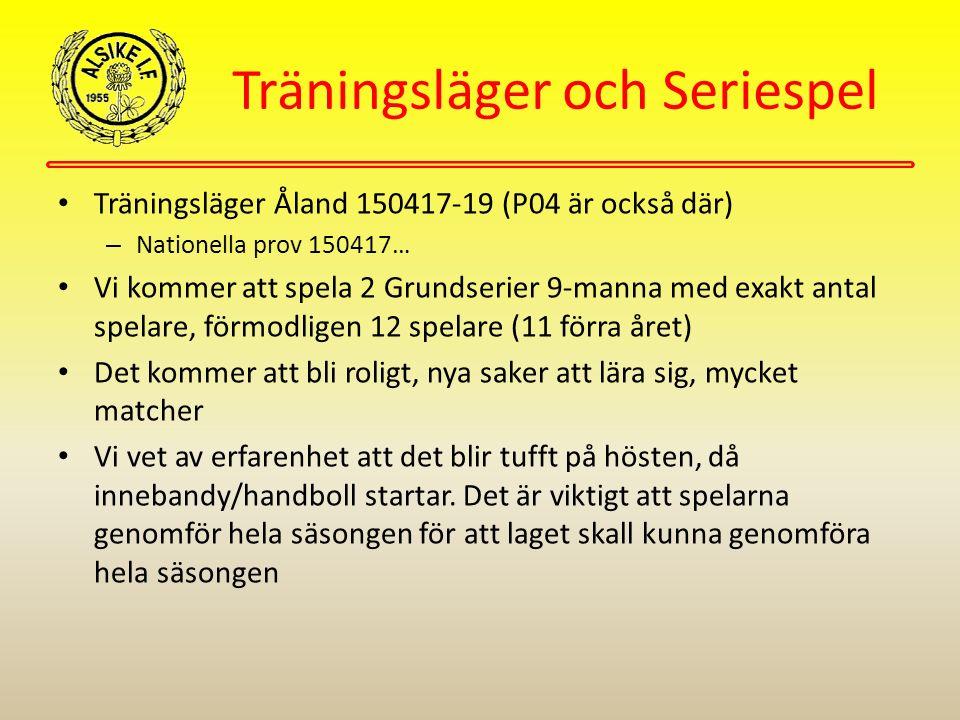 Träningsläger och Seriespel Träningsläger Åland 150417-19 (P04 är också där) – Nationella prov 150417… Vi kommer att spela 2 Grundserier 9-manna med exakt antal spelare, förmodligen 12 spelare (11 förra året) Det kommer att bli roligt, nya saker att lära sig, mycket matcher Vi vet av erfarenhet att det blir tufft på hösten, då innebandy/handboll startar.