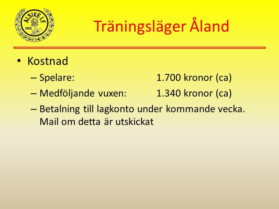 Träningsläger Åland Kostnad – Spelare: 1.700 kronor (ca) – Medföljande vuxen:1.340 kronor (ca) – Betalning till lagkonto under kommande vecka.
