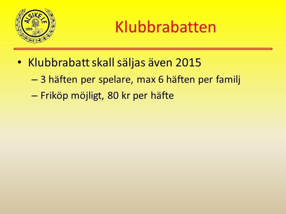 Klubbrabatten Klubbrabatt skall säljas även 2015 – 3 häften per spelare, max 6 häften per familj – Friköp möjligt, 80 kr per häfte