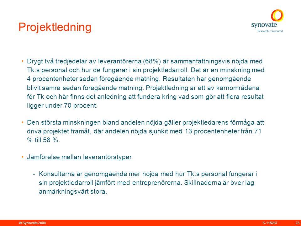 © Synovate 2008 23S-115257 Projektledning Drygt två tredjedelar av leverantörerna (68%) är sammanfattningsvis nöjda med Tk:s personal och hur de fungerar i sin projektledarroll.