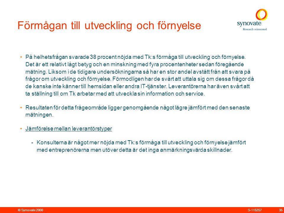 © Synovate 2008 35S-115257 Förmågan till utveckling och förnyelse På helhetsfrågan svarade 38 procent nöjda med Tk:s förmåga till utveckling och förnyelse.