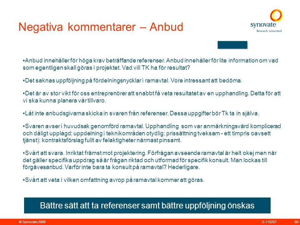 © Synovate 2008 60S-115257 Anbud innehåller för höga krav beträffande referenser.