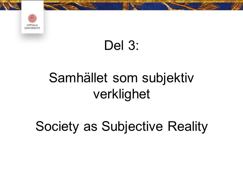 Del 3: Samhället som subjektiv verklighet Society as Subjective Reality