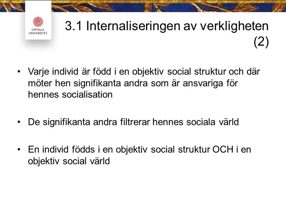 3.1 Internaliseringen av verkligheten (2) Varje individ är född i en objektiv social struktur och där möter hen signifikanta andra som är ansvariga för hennes socialisation De signifikanta andra filtrerar hennes sociala värld En individ födds i en objektiv social struktur OCH i en objektiv social värld