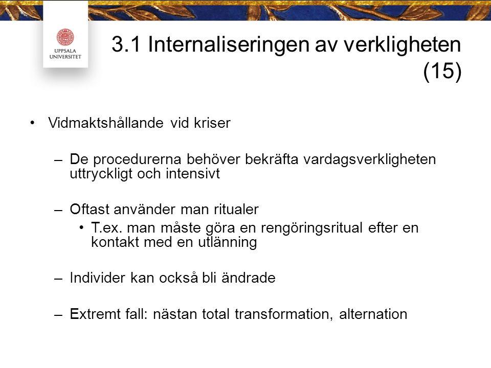 3.1 Internaliseringen av verkligheten (15) Vidmaktshållande vid kriser –De procedurerna behöver bekräfta vardagsverkligheten uttryckligt och intensivt –Oftast använder man ritualer T.ex.