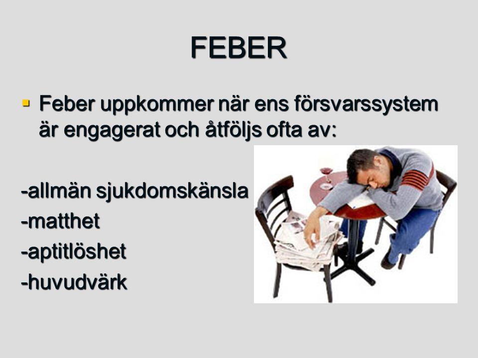 FEBER  Feber uppkommer när ens försvarssystem är engagerat och åtföljs ofta av: -allmän sjukdomskänsla -matthet-aptitlöshet-huvudvärk
