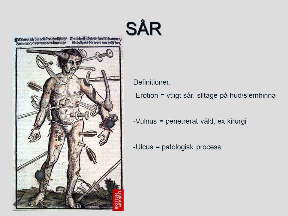 SÅR Definitioner: -Erotion = ytligt sår, slitage på hud/slemhinna -Vulnus = penetrerat våld, ex kirurgi -Ulcus = patologisk process