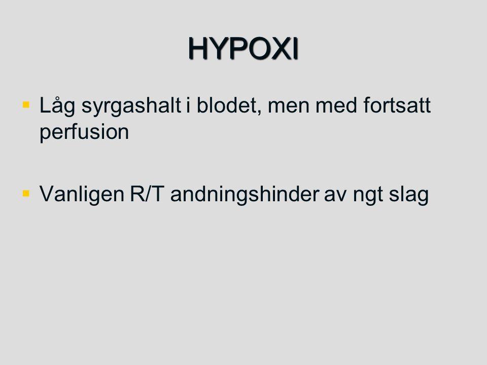 HYPOXI   Låg syrgashalt i blodet, men med fortsatt perfusion   Vanligen R/T andningshinder av ngt slag