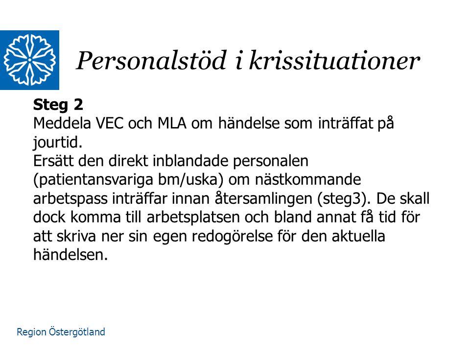 Region Östergötland Steg 3 VEC ansvarar för denna aktivitet.