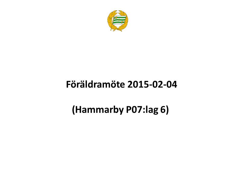 1.Presentation av närvarande och icke närvarande ledare och föräldrar 2.Presentation av P07:lag 6 – organisation och spelare 3.Genomgång av de riktlinjer för verksamhets- och säsongsplanering som Hammarby IF vill att vi följer 4.Genomgång av P07:lag 6 verksamhets- och säsongsplanering 5.