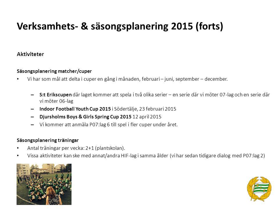 Verksamhets- & säsongsplanering 2015 (forts) Aktiviteter Säsongsplanering matcher/cuper Vi har som mål att delta i cuper en gång i månaden, februari –