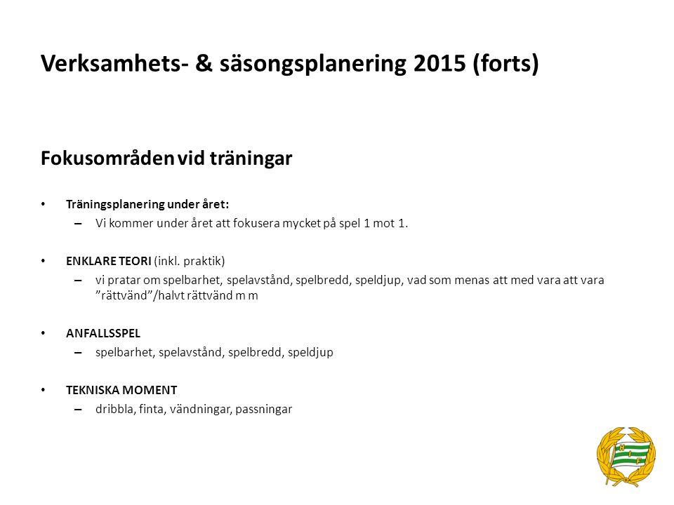 Verksamhets- & säsongsplanering 2015 (forts) Fokusområden vid träningar Träningsplanering under året: – Vi kommer under året att fokusera mycket på sp