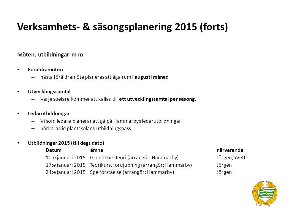 Verksamhets- & säsongsplanering 2015 (forts) Möten, utbildningar m m Föräldramöten – nästa föräldramöte planeras att äga rum i augusti månad Utvecklin