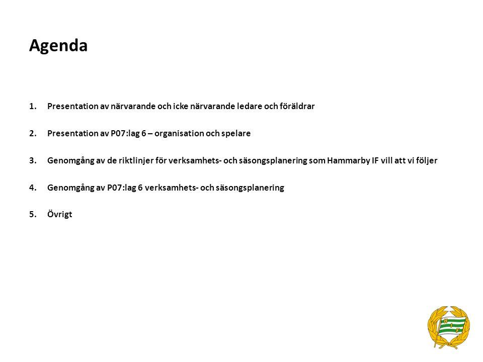 1.Presentation av närvarande och icke närvarande ledare och föräldrar 2.Presentation av P07:lag 6 – organisation och spelare 3.Genomgång av de riktlin