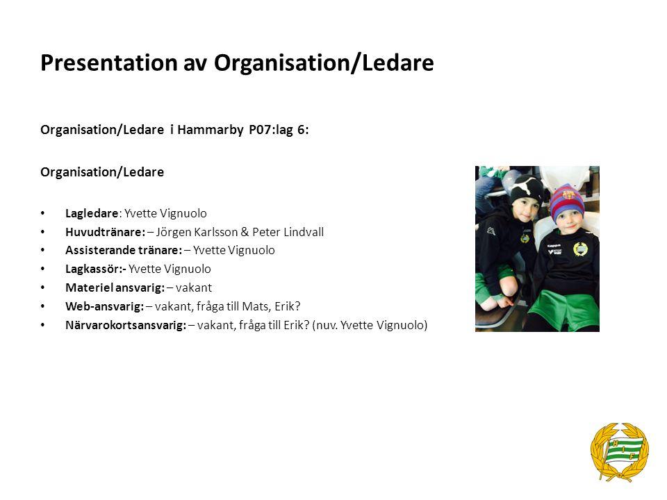 Organisation/Ledare i Hammarby P07:lag 6: Organisation/Ledare Lagledare: Yvette Vignuolo Huvudtränare: – Jörgen Karlsson & Peter Lindvall Assisterande