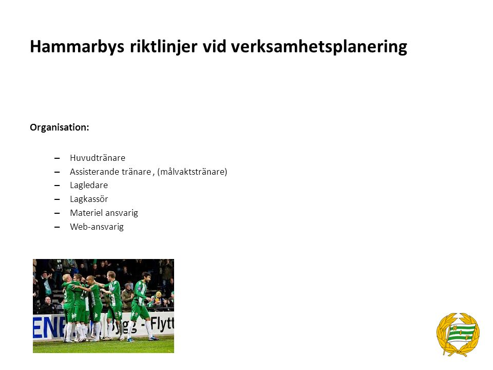 Hammarbys riktlinjer vid verksamhetsplanering Organisation: – Huvudtränare – Assisterande tränare, (målvaktstränare) – Lagledare – Lagkassör – Materie