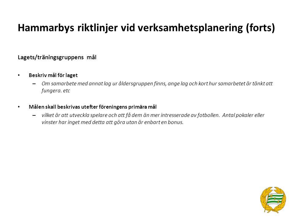 Hammarbys riktlinjer vid verksamhetsplanering (forts) Aktiviteter /säsongsplanering: Aktiviteter & säsongsplanering: – aktiviteter som laget planera att genomföra, antal träningar per vecka, cupspel, träningsläger, seriespel (antal serier i S:t Erikscupen) m m Träningsplanering: – vilka moment som kommer att prioriteras i träning och om någon form av specialträning kommer att bedrivas, t.ex.