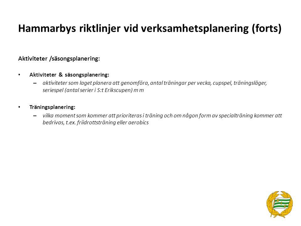Hammarbys riktlinjer vid verksamhetsplanering (forts) Utbildningar, möten m m Utbildningar utbildningar som ledarna runt laget har för avsikt att gå under året m m Möten – Föräldramöten, planeringsmöten,.