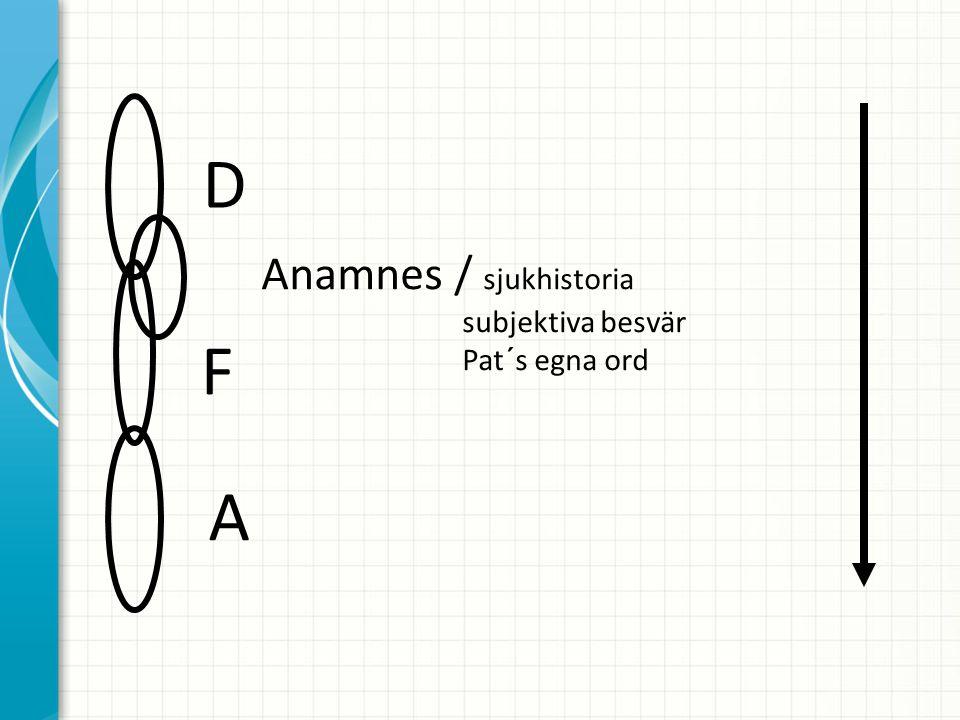 D F A Anamnes / sjukhistoria subjektiva besvär Pat´s egna ord