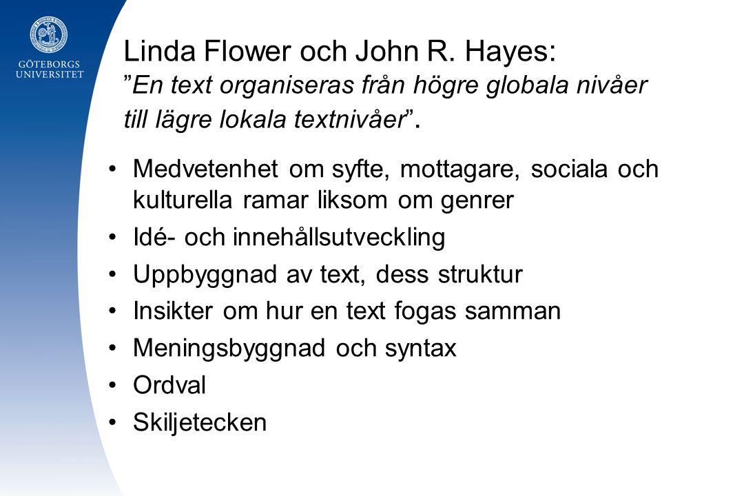 """Linda Flower och John R. Hayes: """"En text organiseras från högre globala nivåer till lägre lokala textnivåer"""". Medvetenhet om syfte, mottagare, sociala"""