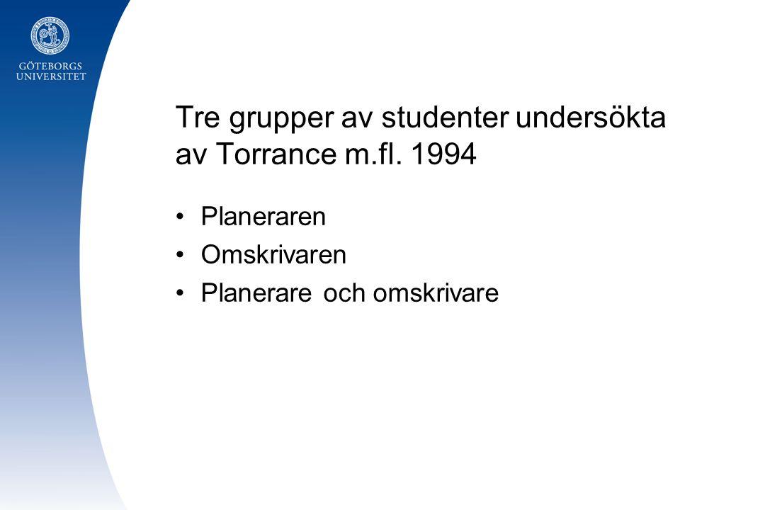 Tre grupper av studenter undersökta av Torrance m.fl. 1994 Planeraren Omskrivaren Planerare och omskrivare