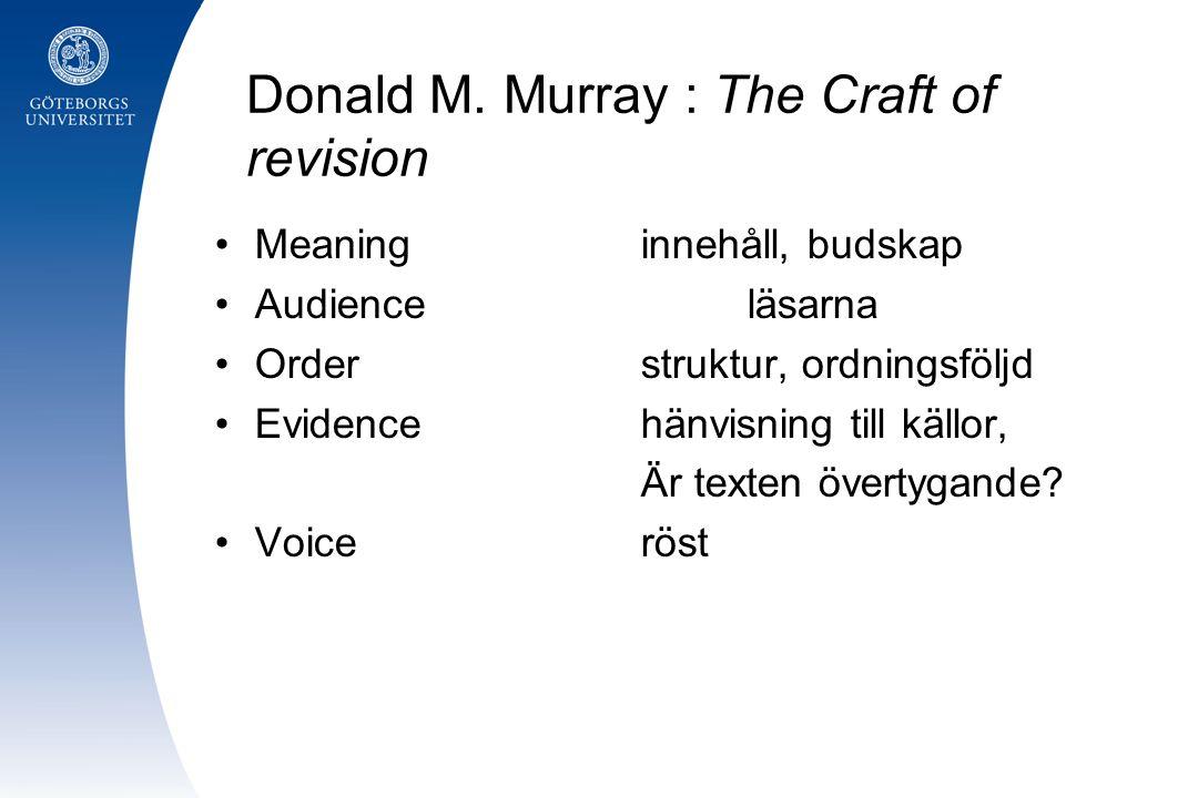 Donald M. Murray : The Craft of revision Meaninginnehåll, budskap Audienceläsarna Orderstruktur, ordningsföljd Evidencehänvisning till källor, Är text