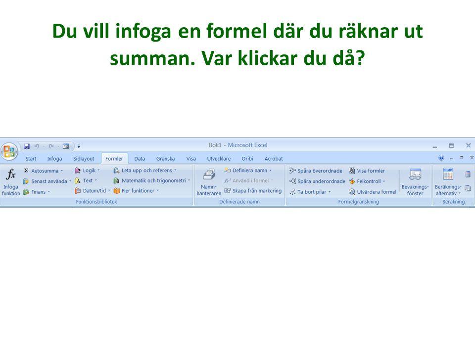 Formler De funktioner som tidigare använts i den här datorn Få upp en dialogruta där du kan leta efter alla funktioner.