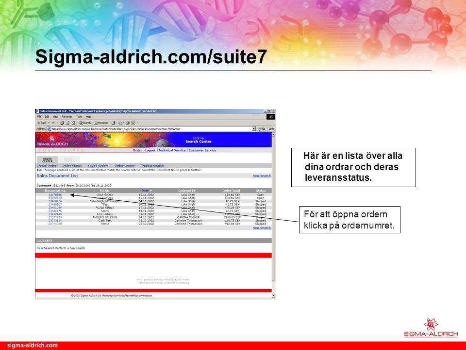 Sigma-aldrich.com/suite7 Här är en lista över alla dina ordrar och deras leveransstatus.