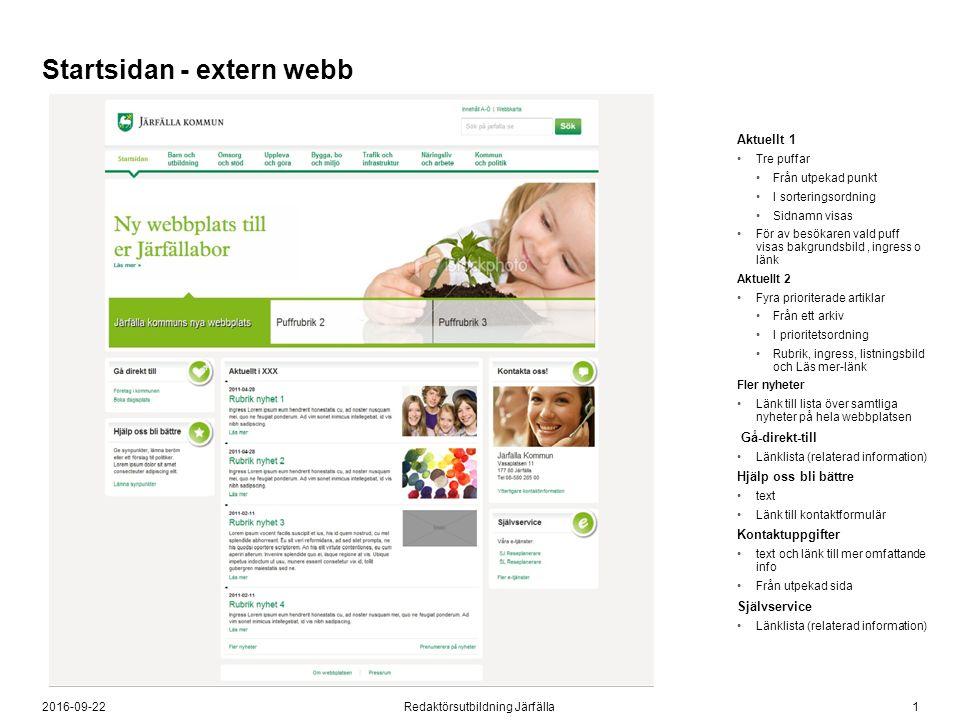 12016-09-22Redaktörsutbildning Järfälla Startsidan - extern webb Aktuellt 1 Tre puffar Från utpekad punkt I sorteringsordning Sidnamn visas För av bes