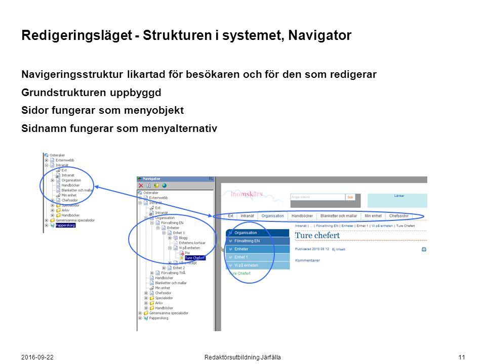 112016-09-22Redaktörsutbildning Järfälla Redigeringsläget - Strukturen i systemet, Navigator Navigeringsstruktur likartad för besökaren och för den so