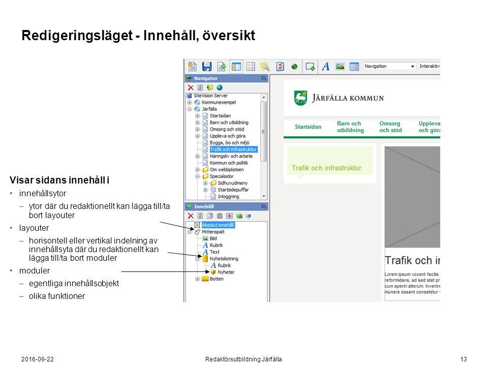 132016-09-22Redaktörsutbildning Järfälla Visar sidans innehåll i innehållsytor –ytor där du redaktionellt kan lägga till/ta bort layouter layouter –ho