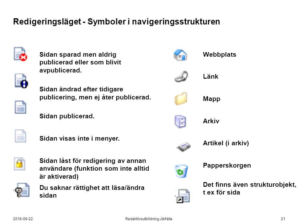 212016-09-22Redaktörsutbildning Järfälla Sidan sparad men aldrig publicerad eller som blivit avpublicerad.