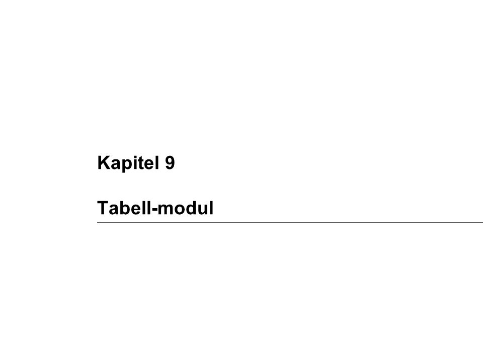 Kapitel 9 Tabell-modul