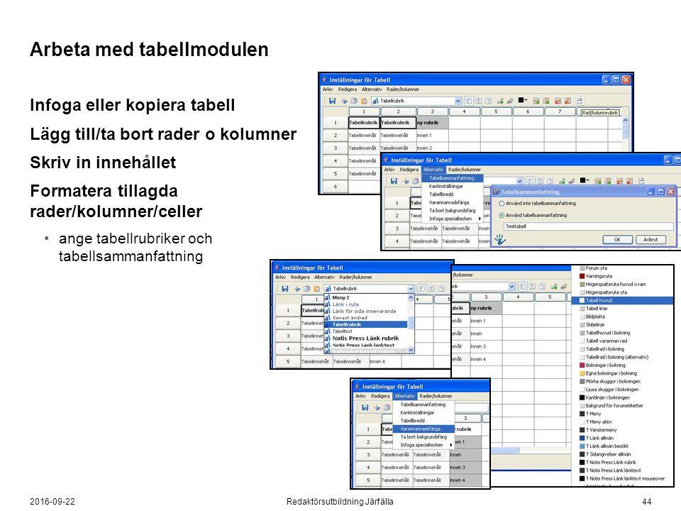 442016-09-22Redaktörsutbildning Järfälla Arbeta med tabellmodulen Infoga eller kopiera tabell Lägg till/ta bort rader o kolumner Skriv in innehållet F