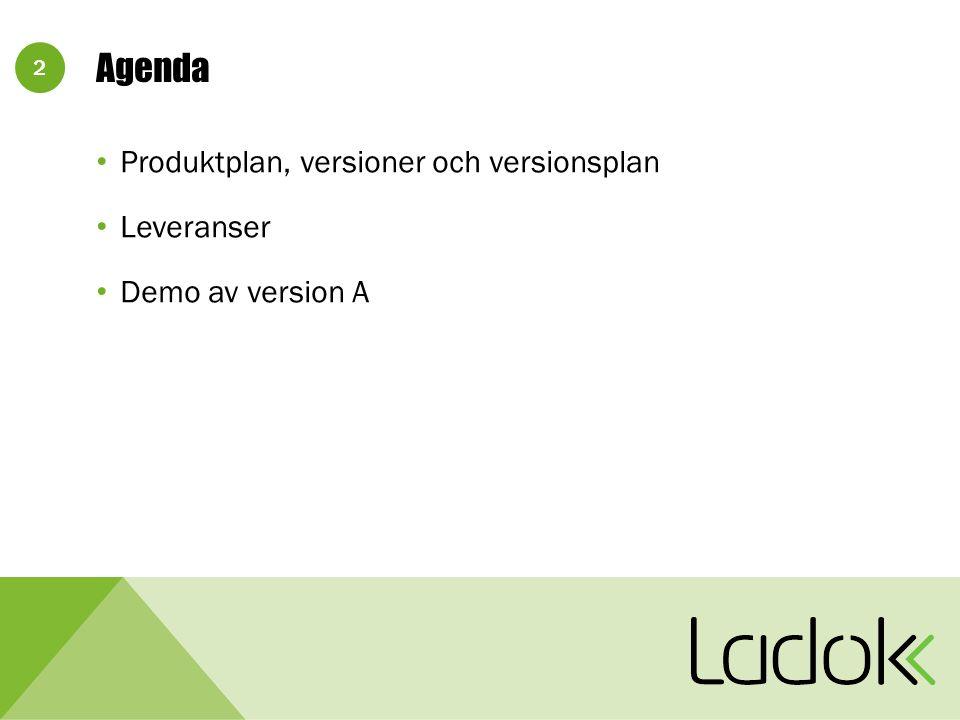 2 Agenda Produktplan, versioner och versionsplan Leveranser Demo av version A