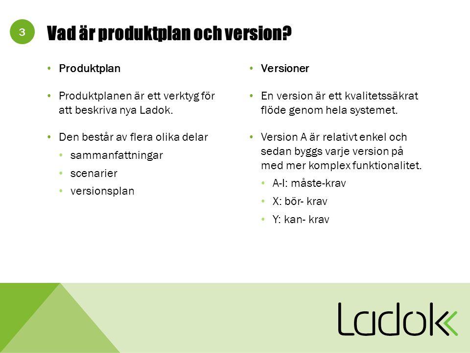 3 Produktplan Produktplanen är ett verktyg för att beskriva nya Ladok.