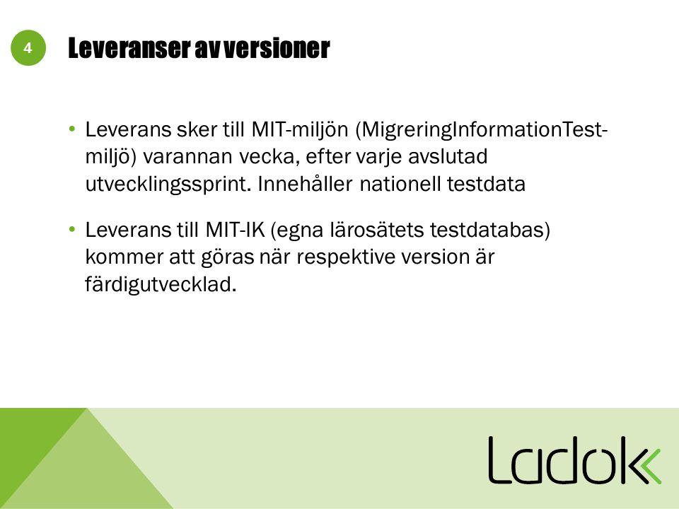 4 Leveranser av versioner Leverans sker till MIT-miljön (MigreringInformationTest- miljö) varannan vecka, efter varje avslutad utvecklingssprint.