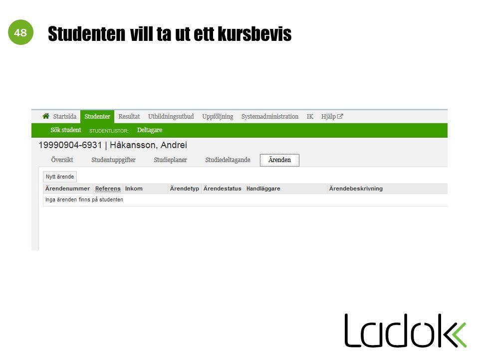 48 Studenten vill ta ut ett kursbevis