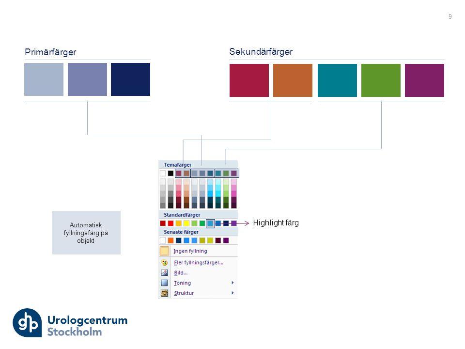 Primärfärger Sekundärfärger Highlight färg Automatisk fyllningsfärg på objekt 9