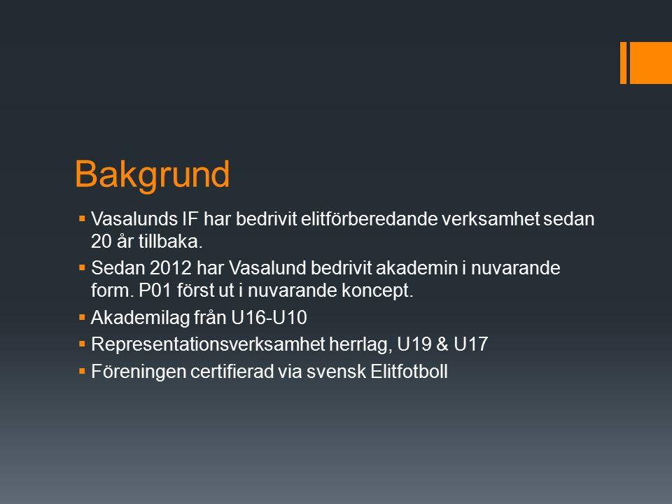Bakgrund  Vasalunds IF har bedrivit elitförberedande verksamhet sedan 20 år tillbaka.