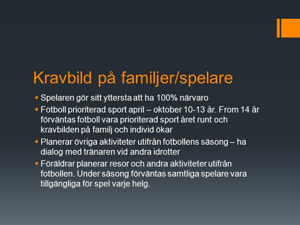 Kravbild på familjer/spelare  Spelaren gör sitt yttersta att ha 100% närvaro  Fotboll prioriterad sport april – oktober 10-13 år.
